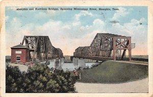 Tennessee Train Postcard Memphis and Harrihan Bridges Memphis, Tenn., USA 1918