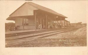 North Falmouth MA Railroad Station Train Depot Passengers Waiting RPPC Postcard