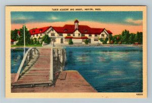 Marion MA, Tabor Academy And Wharf, Linen Massachusetts Postcard