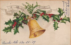 CHRISTMAS, PU-1909; Gold Ringing Bell, Holly