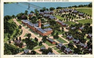 KS - Leavenworth. Army Service Schools & Staff College, Aerial View