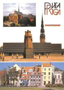 Latvia Riga Latviesu sarkano Strelnieku Muzejpiemineklis Statues Church