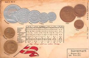 Coin Postcard, Old Vintage Antique Danemark