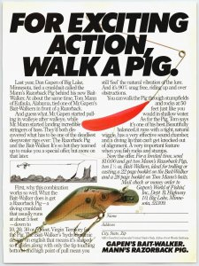 1981 Mann Razorback Pig Vintage Fishing Lure  Print Ad  Man Cave F1