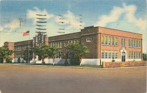 Deming New Mexico~Flag Flies Before Public School~1953 Postcard