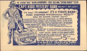 Captain Kidd Mystery Bank Illustrated Advert Postal Card 1940s Toys myn