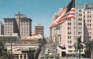 American Flag, Double Sided Street View, Flagler Street From Biscayne Blvd, M...