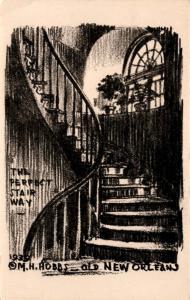 Old New Orleans, The Perfect Stairway by M.H. Hobbs, Sketch Vintage Postcard F20