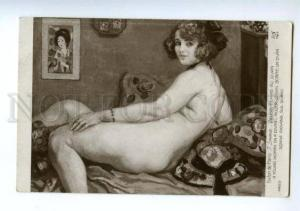 139591 NUDE Young Woman on Divan by SYNAVE vintage SALON PC