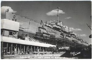 Bath ME USS Frank Knox Launched 1944 at Bath Iron Works Real Photo RPPC Postcard