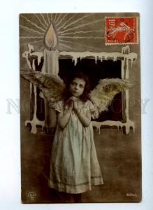 161753 Winged ANGEL Collage PRAY w/ Fire Vintage PHOTO PC