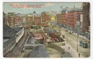 Canal Street Subway Entrance Boston MA 1910 postcard