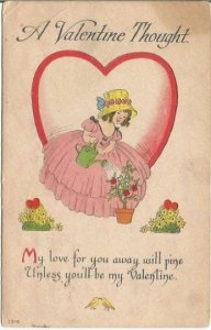 A Vintage Postcard with a Valentine Message decorated with a Girl Watering Can