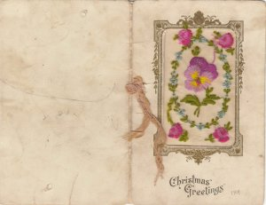 Embroidered 1914-18 ; Christmas Greetings , flowers
