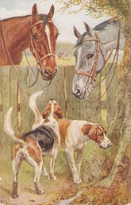 Norah Drummond. Horses and Dogs. Faithful Friends Tuck Oilkette PC # 3297
