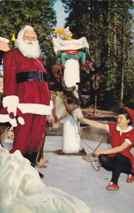 Santa Claus and Reindeer At Santa's Village Skyforest California