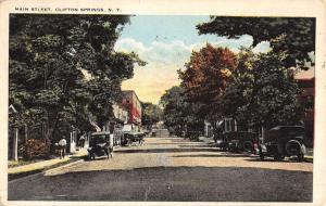 Clifton Springs New York Main Street Scene Antique Postcard K52182