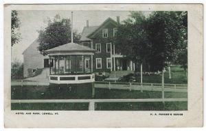Lowell, Vermont, Early View of The Hotel and Park (Bandstand), 1907