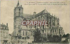 Old Postcard Le Mans Cathedrale St Julien Romanesque nave xi and xii s