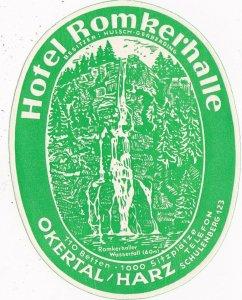 Germany Okertal/Harz Hotel Romkerhalle Vintage Luggage Label sk3204