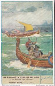 Liebig Trade Card s1582 Boats Through The Ages No 1 La barque des Vikings
