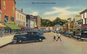 P1776 vintage many old cars main street view winthrop maine