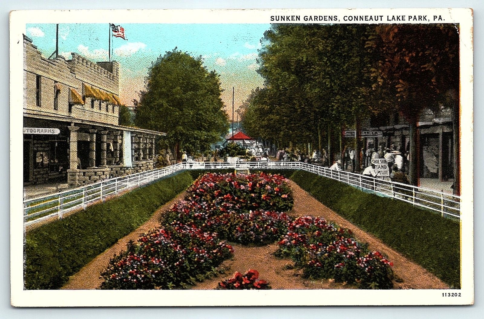 Postcard PA Conneaut Lake Park Sunken Gardens / HipPostcard