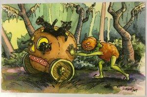 Shiverbones M Kirscht Signed Halloween Pumpkin PC Labor #11/27 2017 Cat Skull
