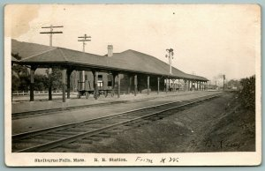 Shelburne Falls MA Luggage Cars Under Roof of Railroad Depot From NW 1911 RPPC
