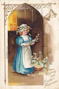 EASTER; Wishing you Happiness, Girl wearing bonnet, White flowers, PU-1909