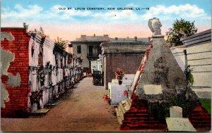 Old St. Louis Cemetery New Orleans Louisiana LA vintage postcard