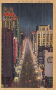 California Los Angeles Broadway At Night Curteich
