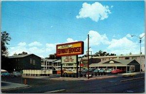 Albuquerque NM Postcard Del Webs HIWAY HOUSE Motel ROUTE 66 Roadside c1960s
