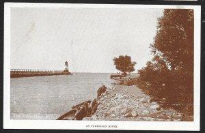 Pier & Lighthouse On Vermilion River Ohio Unused c1920s