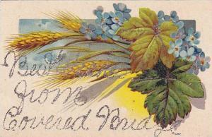 Glitter detail, Best Wishes from Covered Bridge, , Oak leaves , wheat stalks ...