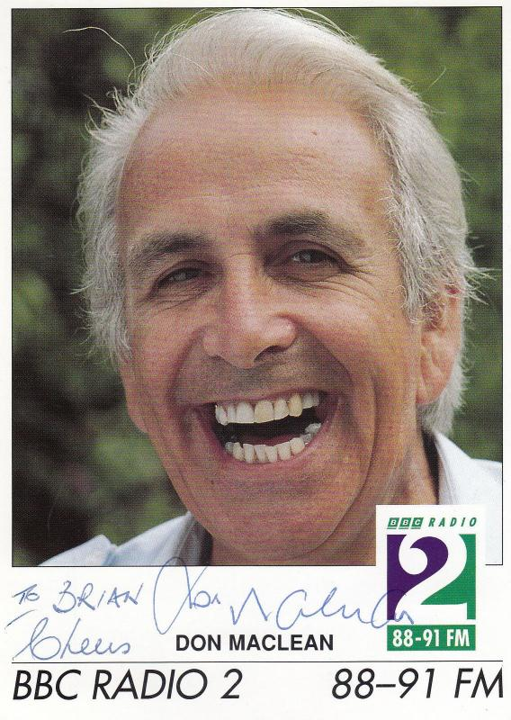 Don MacLean BBC Radio 2 Hand Signed Photo