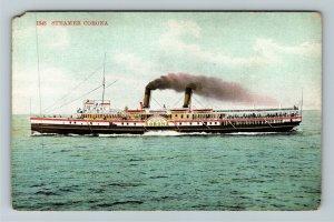 Steamer Corona Vintage Postcard