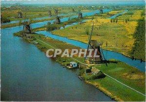 Modern Postcard Panorama Molens Kinderdijk Windmills Wind