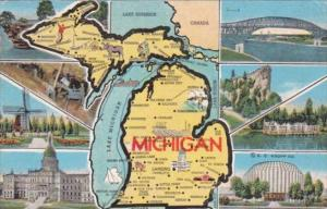 Map Of Michigan With Multi Views 1948