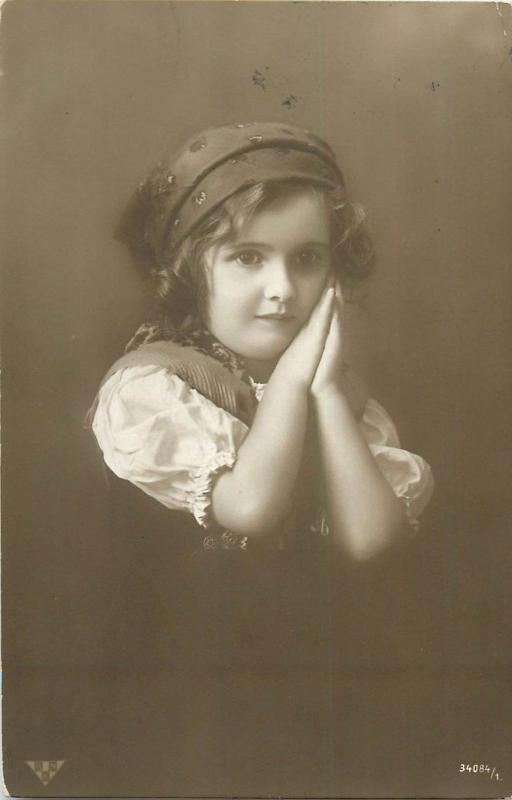 Children portraits topic vintage postcard charm little girl