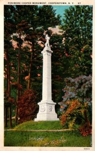 New York Cooperstown Fenimore Cooper Monument Curteich