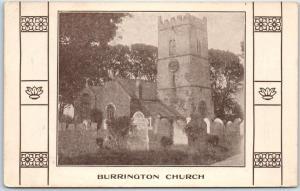 Burrington England UK Postcard Holy Trinity Church Building w/ Cemetery c1910s