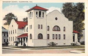 Clearwater Florida Methodist Church Street View Antique Postcard K69873