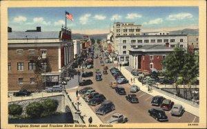Reno NV Virginia St. Birdseye View Linen Postcard