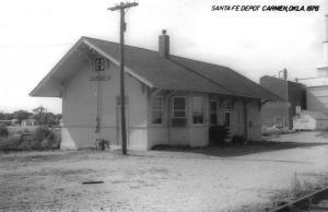 Carmen Oklahoma 1976 Santa Fe train depot real photo pc Y14686