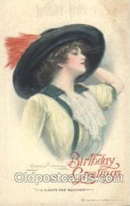 Birthday Greetings, Artist Signed Clarence Underwood, Postcard Postcards Rein...