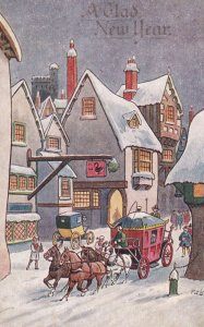 NEW YEAR, 1900-10s; Four-horse Stage Coach running through Little Snow Covere...