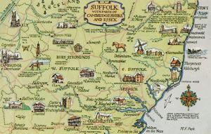 Map of Suffolk with parts of Cambridgeshire and Essex postcard