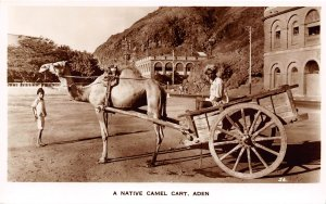 Native Camel Car Aden Yemen RP RPPC real photo postcard