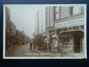 Kent FAVERSHAM Preston Street shows VOILE & ROBERSON PRINTERS - Old RP Postcard